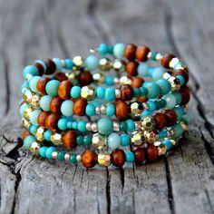 Turquoise, Wood & Gold Eclectic Boho Wrap Bracelet