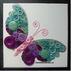 Button Art Aqua Blue and Purple Butterfly
