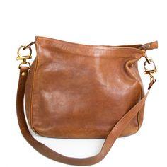 Sac besace XL Pourchet cuir camel - fauve vintage 1980-90 TBE | boutique entre-zist-et-zest