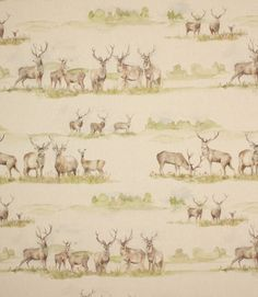 Moorland stag fabric is a gorgeous country fabric depicting watercolour stags on a linen/cotton backing cloth that is suitable for curtains, blinds and cushions. Co-ordinates with matching Moorland stag cushion.