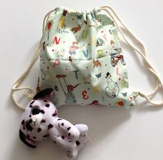 Fabric backpack for toddlers Nursery or daycare by drawastring