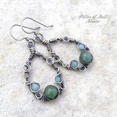 Sterling silver wire wrapped earrings with amazonite and green aventurine #SterlingSilverWire