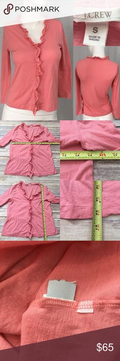 ⛲️ Small J. Crew Coral Lightweight V-neck Cardigan Measurements are in photos. Normal wash wear, no flaws B3/32  I do not comment to my buyers after purchases, due to their privacy. If you would like any reassurance after your purchase that I did receive your order, please feel free to comment on the listing and I will promptly respond. I ship everyday and I always package safely. Thanks! J. Crew Sweaters Cardigans