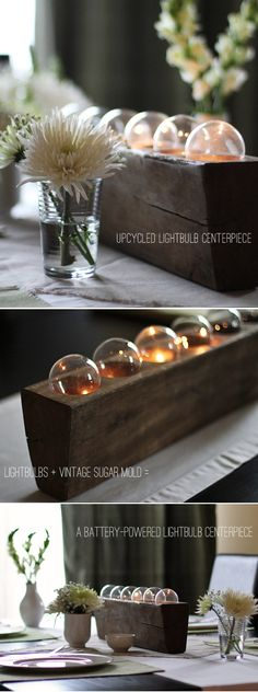 Create a rustic tabletop centerpiece using lightbulbs, batteries and a vintage wooden container with this tutorial.