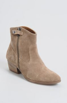 "A snap tab and exposed zip modernize a Western bootie with a tapered shaft and classic, stacked heel.  1 3/4"" heel (size 8 1/2). 5 1/2"" boot shaft. Side zip with snap-tab closure. Leather or suede upper/synthetic microfiber and leather lining/rubber sole. By Söfft"