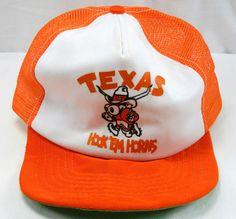 Mesh Vintage Snap Back Trucker Hat Cap UT University Of Texas Hook Em Horns Long #Cap #Longhorns College Orange White