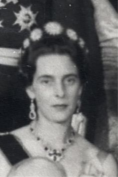 a close up of Princess Theodora of Baden, nee Greece, Bernhard's grandmother, wearing the sunburst tiara