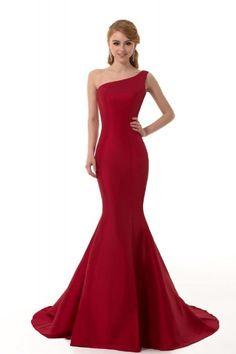 DESIGN Brief Elegant Burgundy Mermaid One-Shoulder Evening Dress