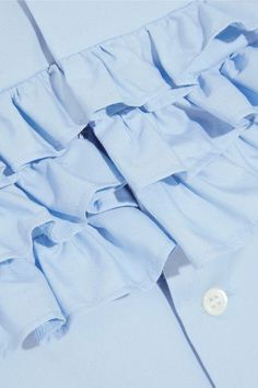 Comme des Garçons GIRL - Ruffle-trimmed Cotton-poplin Shirt - Blue - x small