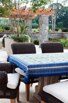Blue Cornflower Block Printed Tablecloths