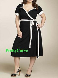 Elegant Black Cocktail Work Wrap Dress