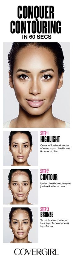 contour makeup Contour your face in 60 seconds! COVERGIRLS step-by-step tutorial using our truBLEND Contouring Palette and learn to highlight, contour and bronze your face. Covergirl, Beauty Secrets, Beauty Hacks, Beauty Care, Beauty Products, Skin Products, Make Up Products, Women's Beauty, Beauty Style