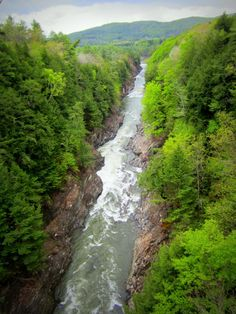 We took this photo of Quechee Gorge (Vermont's deepest glacial gorge) from the bridge that crosses it. The view from here is approximately 165 feet down to the the Ottauquechee River. In addition to this breathtaking view, there are also some gentle hiking trails along the river.