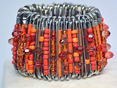 Safety pin bracelet African jewelry African by BoutiqueMix on Etsy