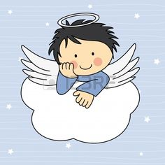 Illustration of Angel wings on a cloud. Greeting card vector art, clipart and stock vectors. Angel Cartoon, Baby Cartoon, Photo Images, Art Images, Angel Clipart, Baptism Cards, Angel Images, Pintura Country, Cartoon Drawings