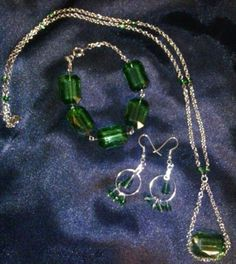 Green and silver 3 pc set $17