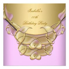 Gold Pink Elegant Birthday Party Announcements Party Invitations by Zizzago.com