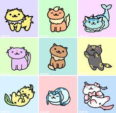 Eeveelutions as Neko Atsume kitties #NoelitoFlow . Repin & Like and follow…