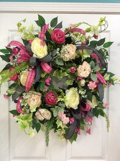 New wreath in pinks and creams using hot pink and black ribbon mixed through out. This wreath reminds me of a English garden. Summer Door Wreaths, Fall Wreaths, Wreaths For Front Door, Mesh Wreaths, Floral Wreaths, Front Door Decor, Porch Decorating, Grapevine Wreath, Floral Arrangements