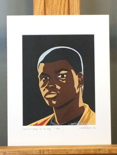 """This is a LIMITED EDITION HAND SIGNED Matted Print of my Star Wars painting, """"Finn In A Galaxy Far, Far Away"""".     Only 333 prints exist. Each print is hand signed and numbered by the artist.    Mat measures 11""""x14"""". Print measures 8""""x10"""". Mounted on 3/16"""" foam core board.    Matted Print is ready to pop right into an 11""""x14"""" frame!"""