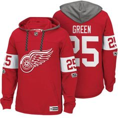 a62ba7588 Detroit Red Wings  25 Mike Green Red Centennial Classic Patch Hoodie  Detroit Red Wings