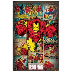 MARVEL COMICS - Iron Man Retro 60x90 cm #artprints #interior #design #art #print #cartoon  Scopri Descrizione e Prezzo http://www.artopweb.com/categorie/cartoni/EC21927