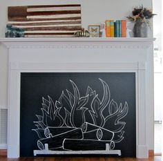 No Fireplace? Make Your Own Chalkboard Version Using a Salvaged Mantel and Plywood >> http://blog.diynetwork.com/maderemade/how-to/how-to-make-a-chalkboard-fireplace-with-mantel?soc=pinterest