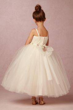 tulle flower girl dress with blush florets | Amoret Dress from BHLDN