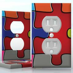 DIY Do It Yourself Home Decor - Easy to apply wall plate wraps | Jigsaw  Connect the colors  wallplate skin sticker for 1 Gang Wall Socket Duplex Receptacle | On SALE now only $3.95 Do It Yourself Home, Light Switch Covers, Plates On Wall, Connect, Decals, Wraps, How To Apply, Stickers, Colors