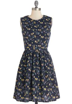 Hoot of a Kind Dress - Print with Animals, Casual, Critters, A-line, Sleeveless, Better, Mid-length, Knit, Crew, Multi, Yellow, Purple, Black, White, Bird, Woodland Creature
