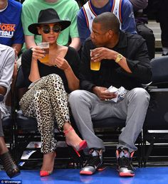 Bey & Jay at Knicks game--Christian Louboutin Unbout Illusion pumps