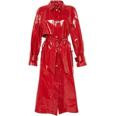 Red Abby Patent Longline Trench Coat | Moda Operandi (30,295 MXN) ❤ liked on Polyvore featuring outerwear, coats, asymmetrical trench coat, red trench coat, red trenchcoat, asymmetrical coat and trench coat