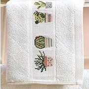 Gästetuch, 30 x 50 cm, 100 % Baumwolle, mit eingewebtem Aidafeld (4 cm hoch, 25 Stiche, 5,4 Stiche/cm) zum Besticken Farbe: BLAU #Kreuzstich Kreativ