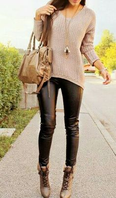Sweater and leather pants