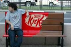 Cool Kit Kat bar bench- This is another very interactive advertising idea to make it look as if the bench has become unwrapped and is a large kit-kat bar- cute-