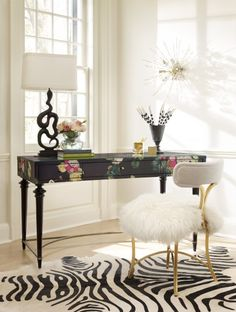 "Cynthia Rowley""Fleur de Glee"" Desk and ""Curious"" chair with faux sheepskin throw.#HookerFurniture #CynthiaRowley"
