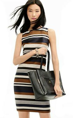 Ann Taylor | Textured Stripe Sheath Dress  p.s. Speaking for all the tall girls, we would really appreciate it if you would offer this fabulous dress in Tall. Pretty please.