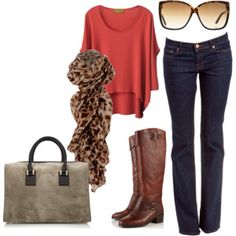 Glasses, bag, boots and top-ahh classic fall