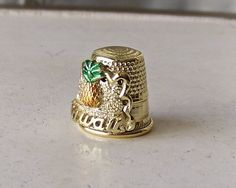 Vintage Souvenir Thimble Hawaii Pineapple Factory 1985 Gold Tone Quilters Thimble Sewing Needle Thimble Collector Sewing Room by cynthiasattic on Etsy