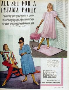 1962 pyjama party from the Australian Women's Weekly