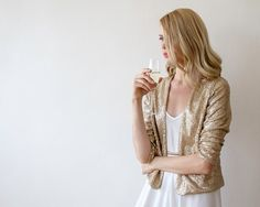 Oscar Sale Sequin gold jacket with long sleeves, Long sleeves sparkling bridal jacket 2014 Black Sequin Jacket, Gold Jacket, Pink Jacket, Party Jackets, Bridal Shrug, How To Dress For A Wedding, Blush And Gold, Gold Sequins, Holiday Outfits