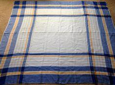 Vintage Tablecloth Blue Yellow Tan Plaid on by CarolsCupboard