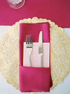 simple napkin fold with menu, fork and knife
