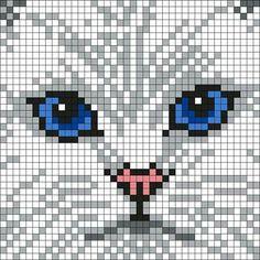 Persian Cat White White_Persian_Cat by Maninthebook on Kandi Patterns Cross Stitch Charts, Cross Stitch Designs, Cross Stitch Patterns, Cat Cross Stitches, Crochet Pixel, Crochet Chart, Free Crochet, Cross Stitching, Cross Stitch Embroidery