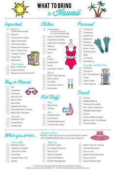 What to Pack | Hawaii Edition   And now, the Hawaiian vacation packing list. Don't forget the lightweight raincoat. Email me at Deb@VacationsByDeb.com or call me at 877-331-5078 for more great tips and booking.