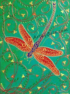 "Dragonfly, 2014. 9"" x 12"", Textured henna style acrylic animal painting on canvas. © Bala Thiagarajan, 2014 www.ArtbyBala.com"