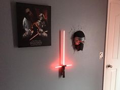 Canvas and Kylo Ren mask nightlight from Target. Kylo Ren lightsaber nightlight from Toys R Us.