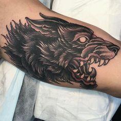 Sweet Tattoos, Dope Tattoos, Black Tattoos, Body Art Tattoos, Hand Tattoos, Tattoos For Guys, Wolf Tattoo Traditional, Witcher Tattoo, Werewolf Tattoo