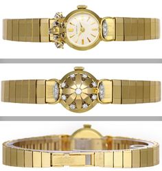 Gubelin Lady's Yellow Gold and Diamond Bracelet Watch   From a unique collection of vintage wrist watches at http://www.1stdibs.com/jewelry/watches/wrist-watches/