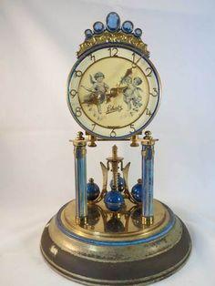German Schatz Anniversary Clock Bejeweled Deep Blue W/Glass Dome